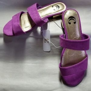 Charming Charlie Sandals, Purple and Gold